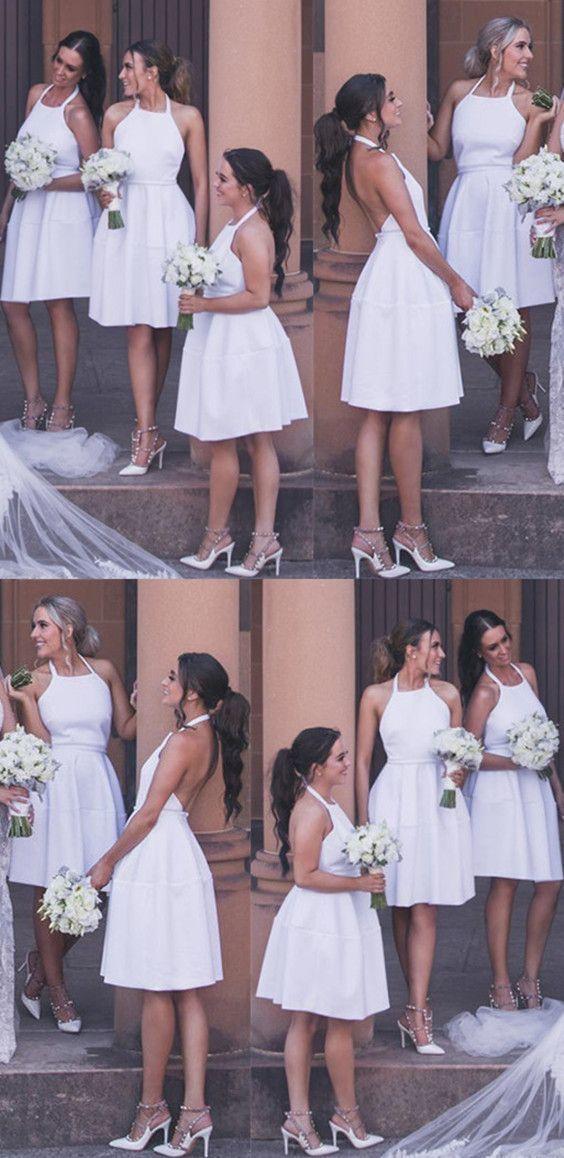 Short White Satin Halter Cocktail Dresses Backless Bridesmaid Dress For Wedding Party
