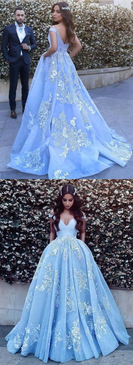6969c7c2a8ab Light Blue Tulle Ball Gowns Prom Dresses Lace Appliques Off Shoulder  quinceanera