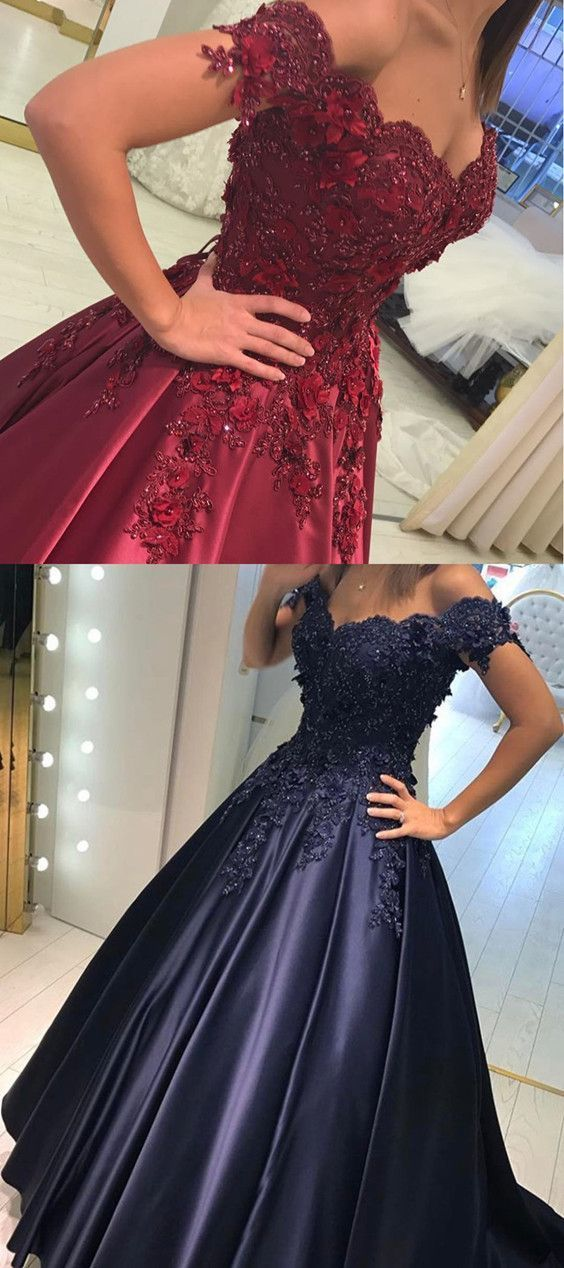 Lace Flower Off The Shoulder Satin Prom Dresses Ball Gowns Quinceanera Dress