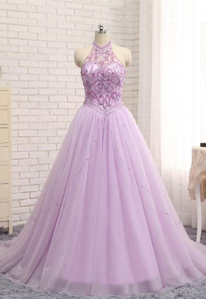 Princess lavender prom dresses,tulle crystal by prom dresses on Zibbet