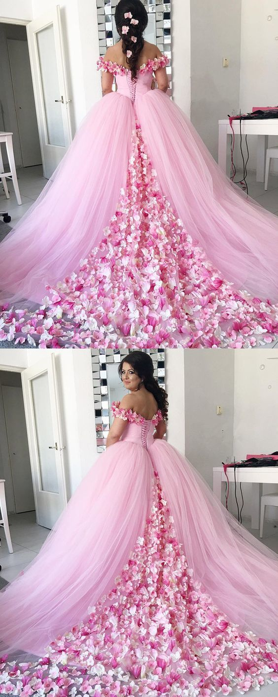 Pink Tulle Floral Flower Ball Gowns Wedding Dresses By Hiprom On