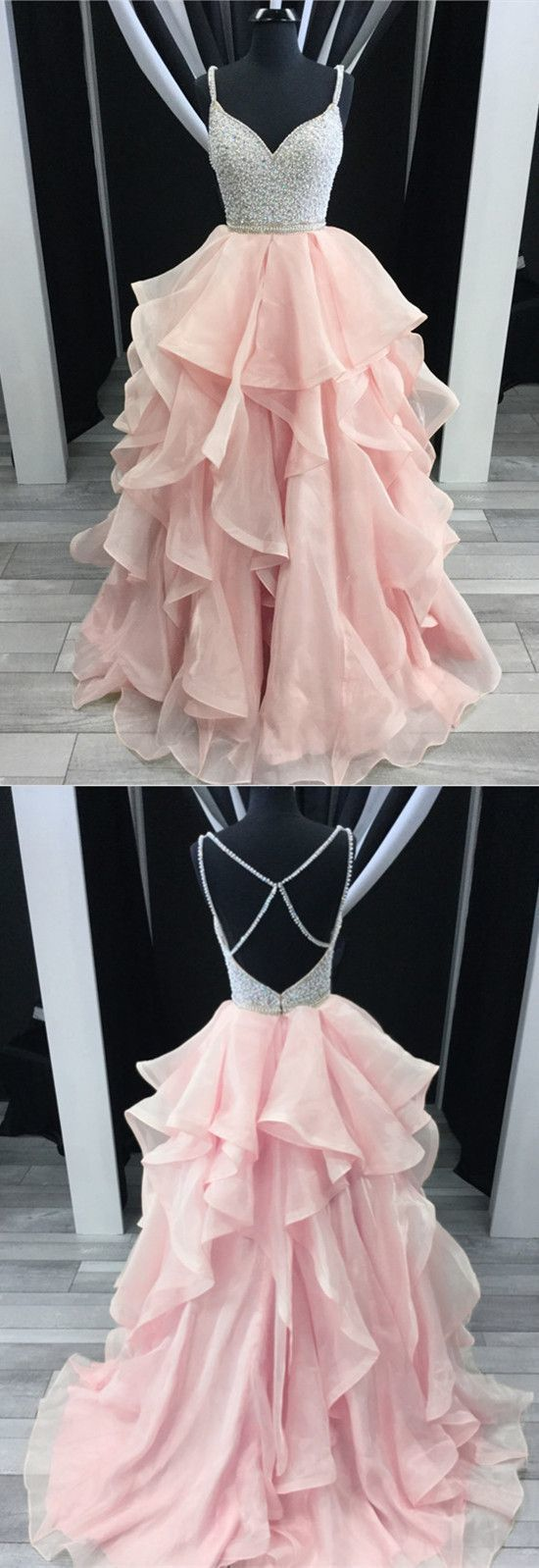 Charming Beading V-neck Cross Back Pink Prom Dresses Ball Gowns Organza Ruffles