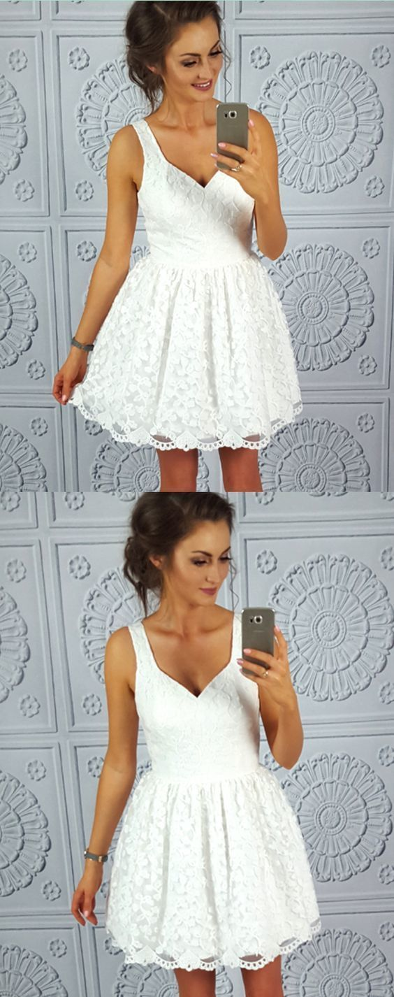 Simple lace short homecoming dresses, white straps short prom dresses, scoop