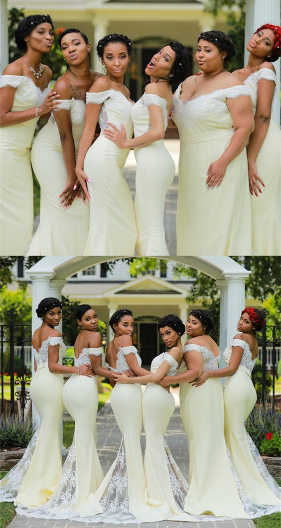Ivory Lace Appliques V-neck Mermaid Bridesmaid Dresses