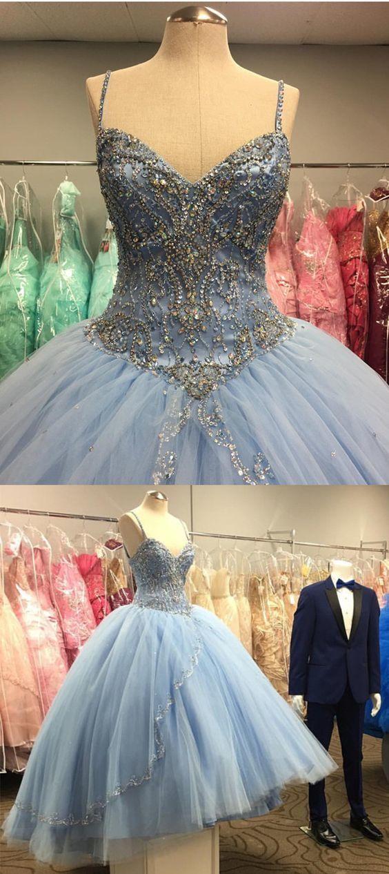 light blue tulle ballgowns quinceanera dresses for girl's sweet 16 Dresses