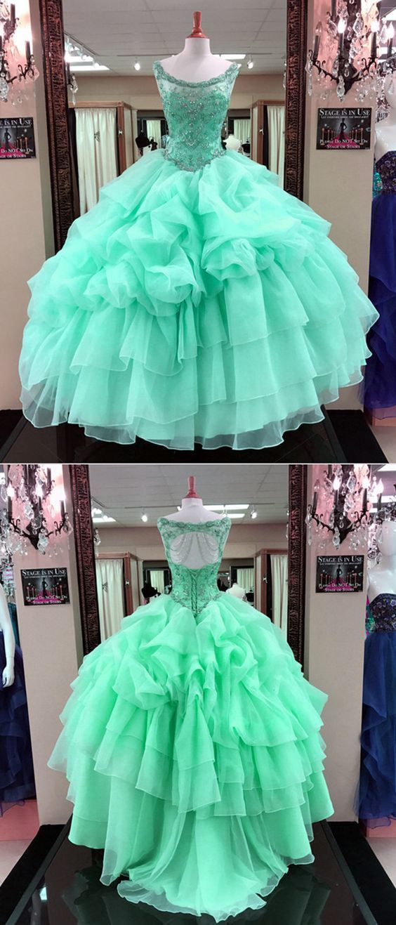 mint green quinceanera dresses ball gowns with jewelry neckline for girls sweet