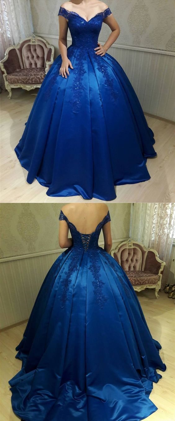 Royal Blue Satin Ball Gowns Quinceanera Dresses V Neck Off-the-shoulder sweet 15
