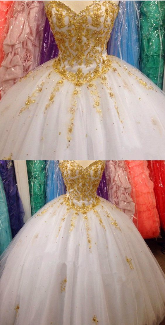 Elegant Gold Lace Embroidery Sweetheart Tulle Ball Gowns Quinceanera Dresses
