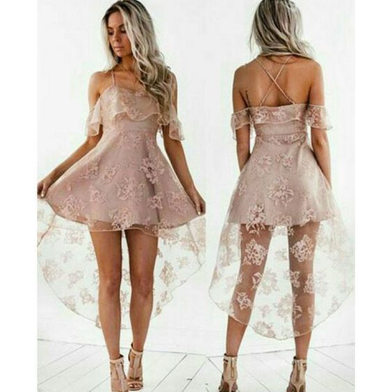 Black/pink homecoming dresses,high low homecoming dresses,lace homecoming