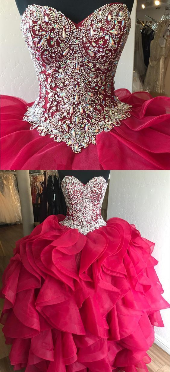 Gorgeous Crystal Beaded Bodice Corset Organza Ruffles Quinceanera Dresses Ball