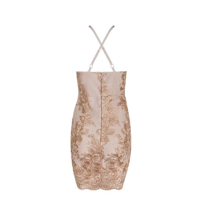 Sexy Club Apricot Sleeveless Hollow Out Lace Summer Bandage Dress