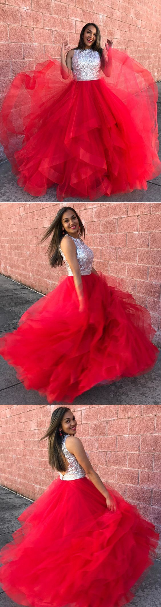 Red Prom Dresses Ball Gowns Organza Ruffle With Sequin Beaded And Keyhole Back