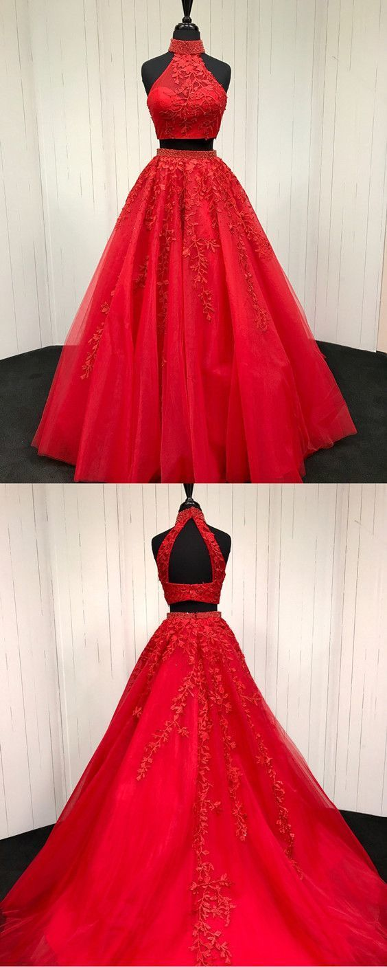 Red Lace Embroidery Two Piece Tulle Ball Gowns Quinceanera Dresses Beaded High