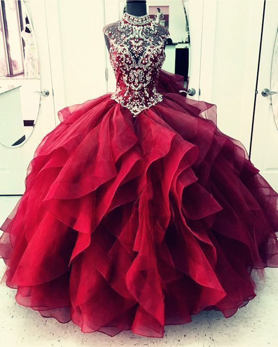 maroon quinceanera dresses ball gowns for girl sweet 16 party Ball Gowns Prom