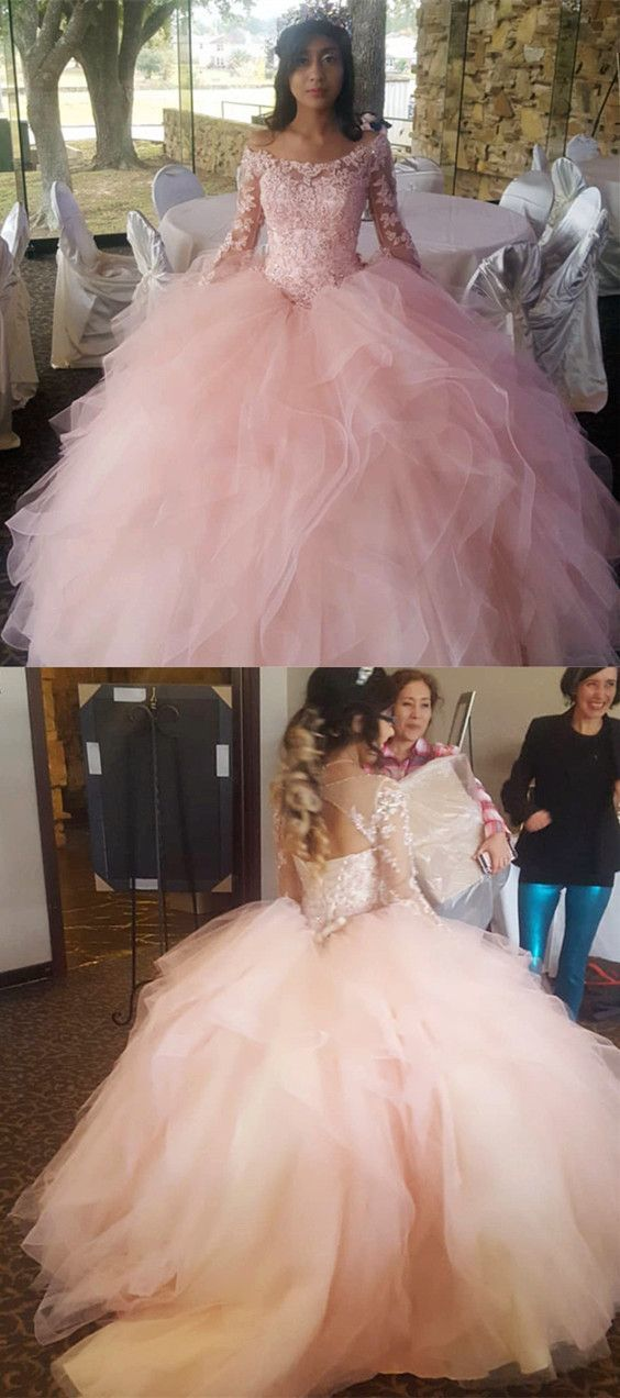 Light Pink Organza Ruffles Ball Gowns Quinceanera Dresses Lace Long Sleeves
