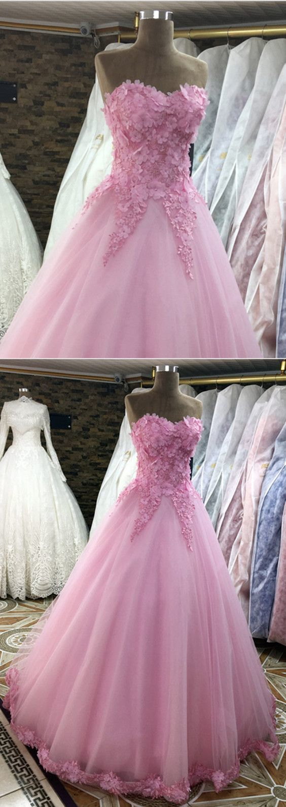 Pink Lace Flowers Sweetheart Tulle Ball Gowns Quinceanera Dresses
