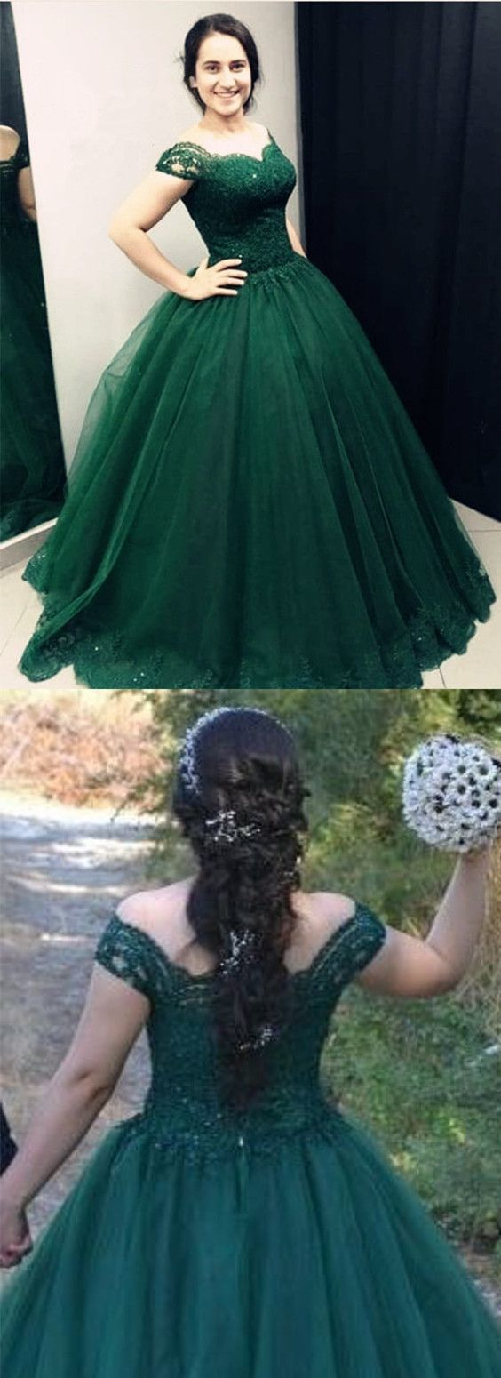 Dark Green Lace Sweetheart Off Shoulder Tulle Quinceanera Dresses 2018 Ball