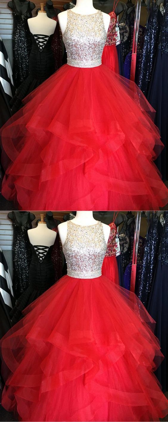 Stunning Sequins Beaded Organza Ruffles Ball Gowns Prom Dresses Red Quinceanera
