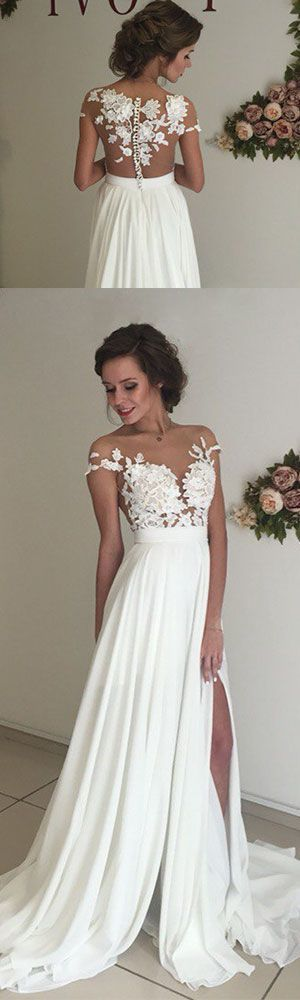 Unique chiffon lace round neck long prom evening dress, white cap sleeves
