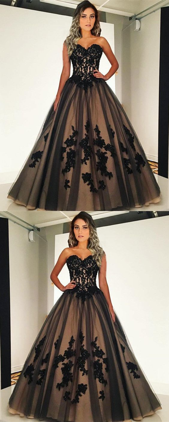 Vintage Style Black And Nude Tulle Ball Gowns Sweetheart Quinceanera Dresses