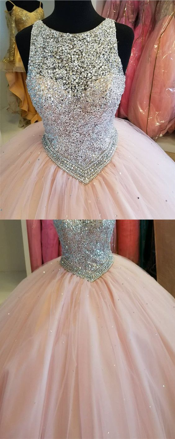 Sparkly Sequins Beaded Keyhole Back Design Blush Pink Tulle Ball Gowns