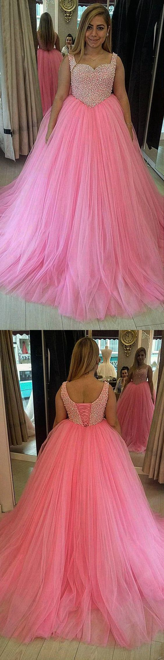 Baby Pink Tulle Sweetheart Ball Gowns Quinceanera Dresses For Sweet 16