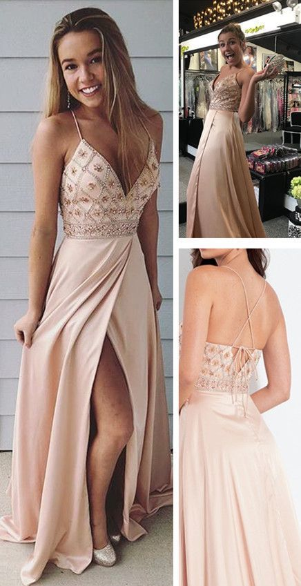 bb063ae514 Spaghetti straps long prom dress, champagne beaded party dress with side  slit