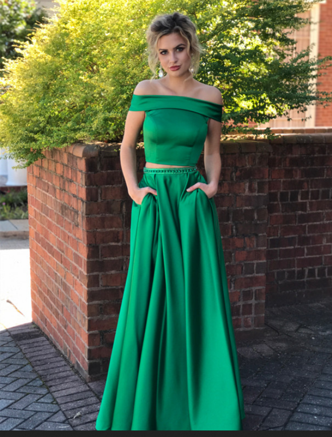 fb9457fbca3 Two Piece Prom Dress,Satin Prom dresss, Off the Shoulder Prom Dresses,  Formal Evening Gowns.Green Prom Dress with Pockets,Pageant Dress