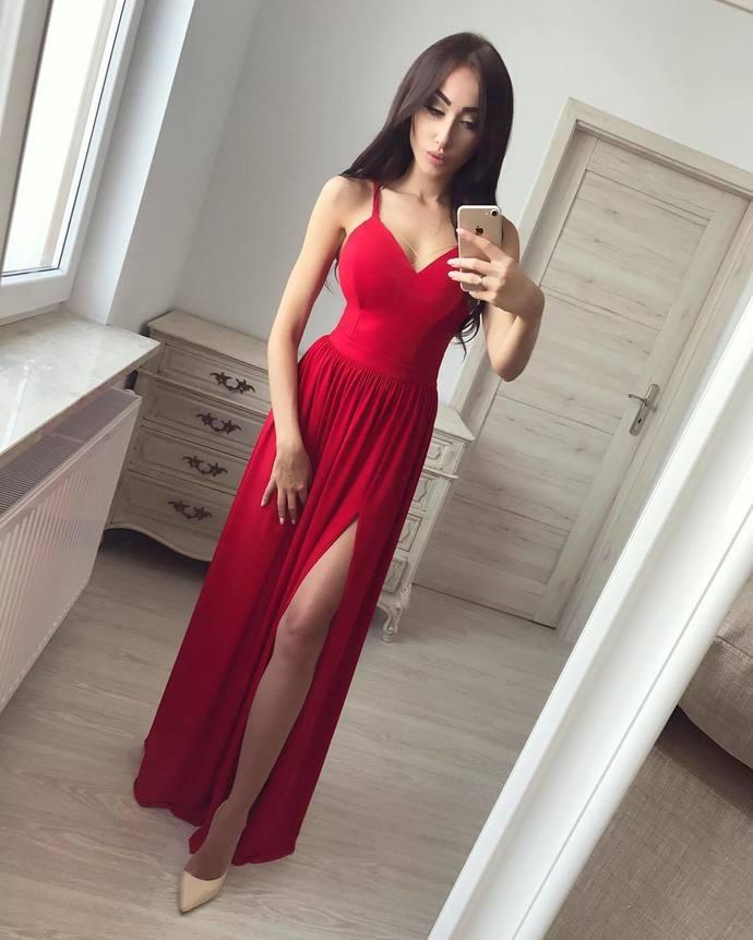 Chiffon Red Sexy Spaghetti Straps Long Prom Dresses, High Slit Evening Dress