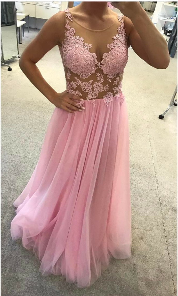 Pink Sheer Prom Dresses with Appliques, Sexy Scoop Neck Evening Dress