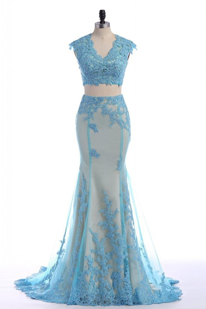 Lace Appliqued Floor Length Prom Dresses,Two Piece Prom Dress, Featuring Plunge