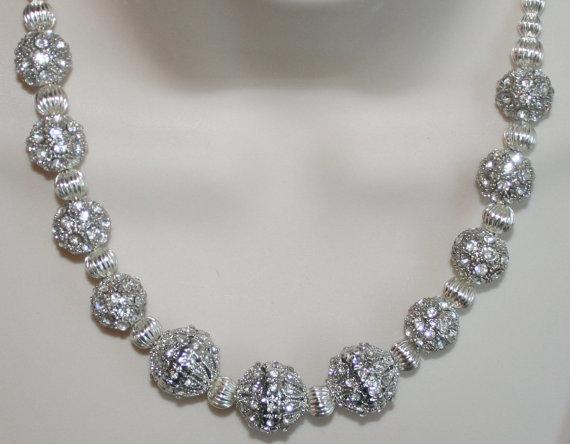 Large Chunky Silver Rhinestone Statement Necklace, Platinum Silver Ornate