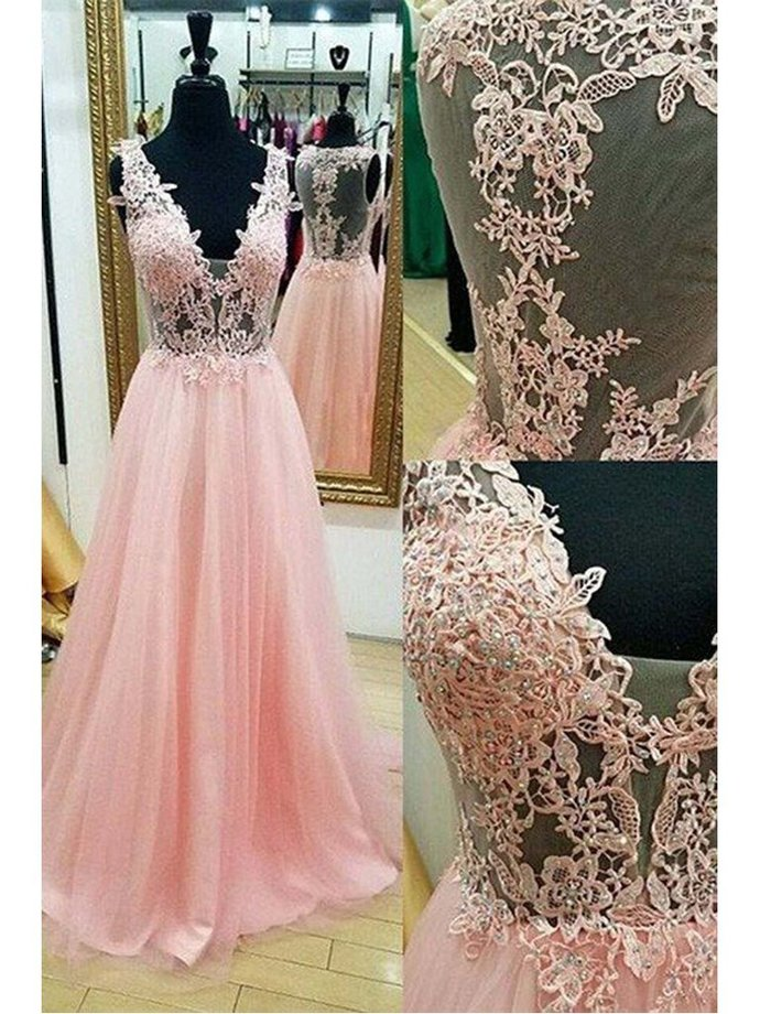 Chic Pink Prom Dresses A-line Floor-length Appliques Long Prom Dress/Evening