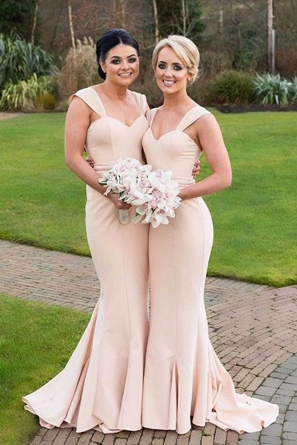 Elegant Simple Mermaid Bridesmaid Dress Straps Wedding Party Dresses