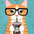 Ginger Iced Coffee Cat Original Cat Folk Art Acrylic Painting