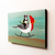 Tuxedo Cat on Rocking Red Crested Cardinal Bird Original Cat Folk Art Acrylic