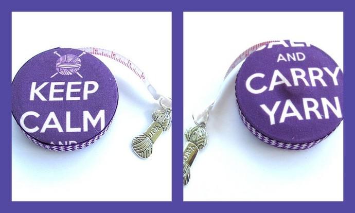 Retractable Pocket Tape Measure Keep Calm Carry Yarn Measuring Tape