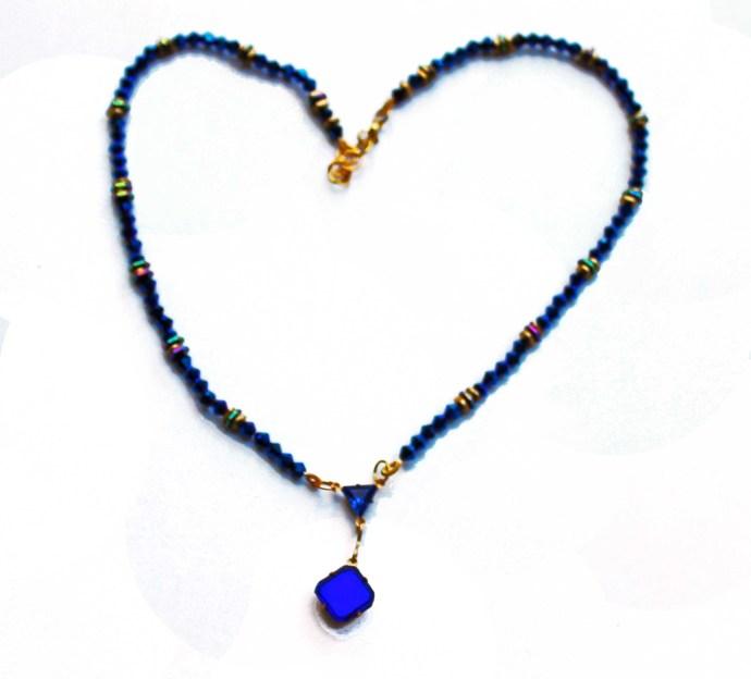Sapphire Blue Swarovski round Beadednecklace, gold spacers, Deep Blue Swarovski