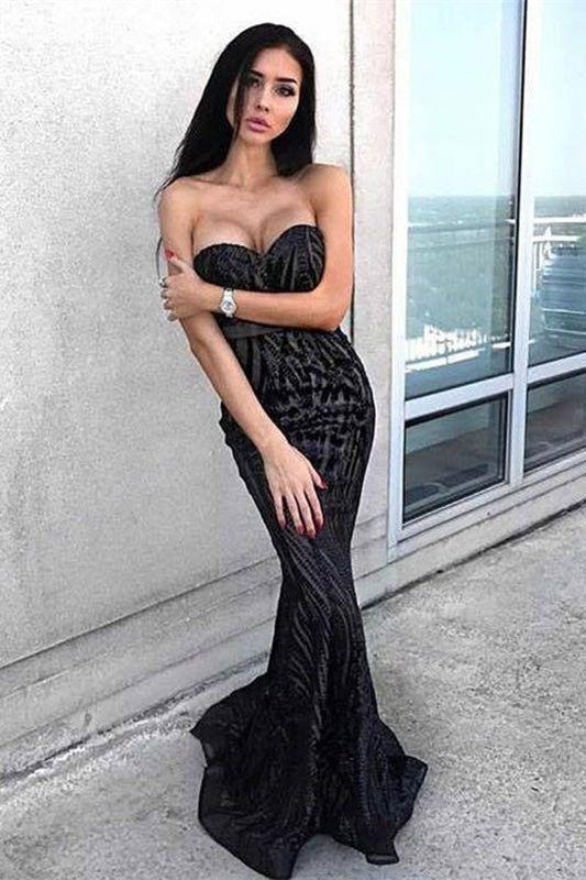 Mermaid Sweetheart Floor-Length Black Lace Prom Dress, modest black mermaid