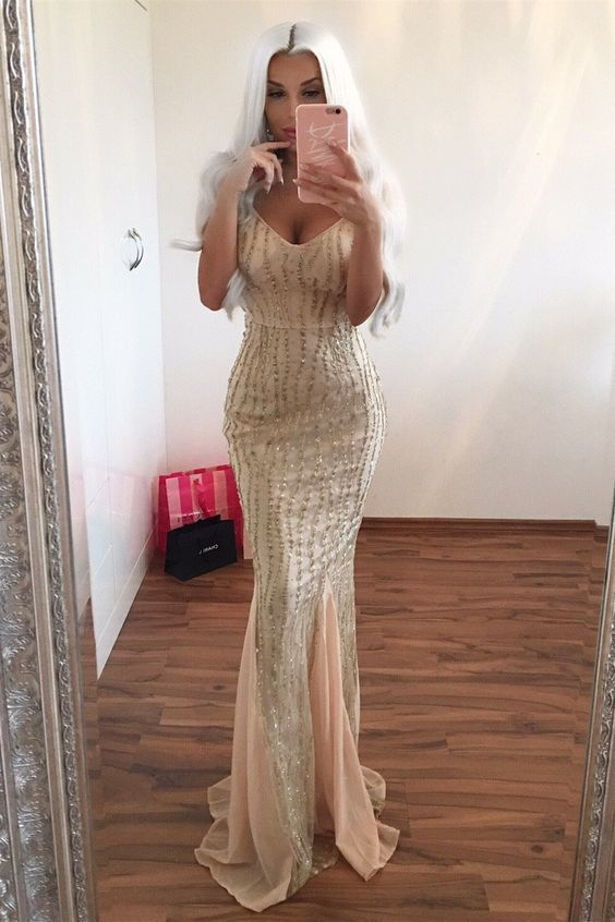 Mermaid Spaghetti Straps Long Champagne Prom Dress with Beading, unique beaded
