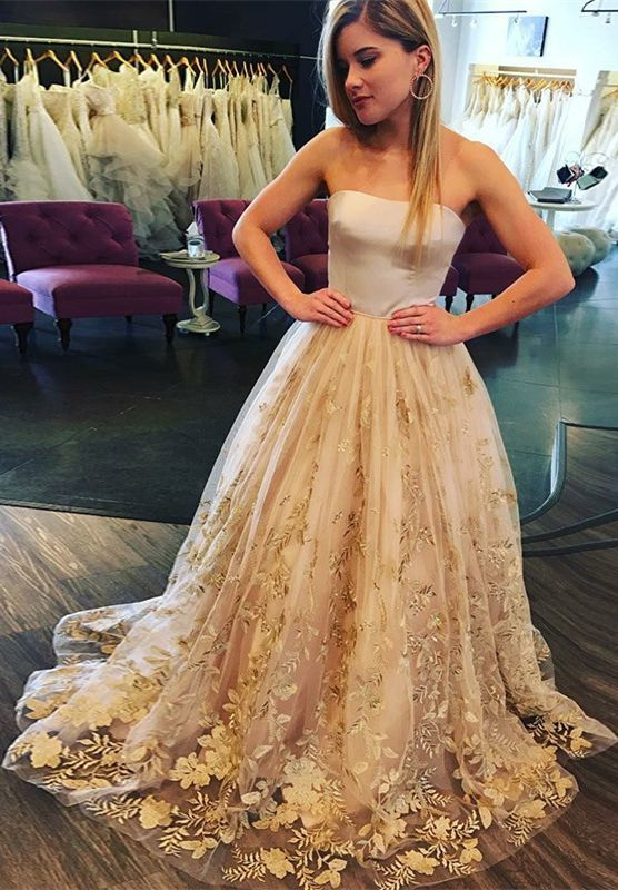 Strapless Sweep Train Light Champagne Floral Prom Dress, modest strapless long