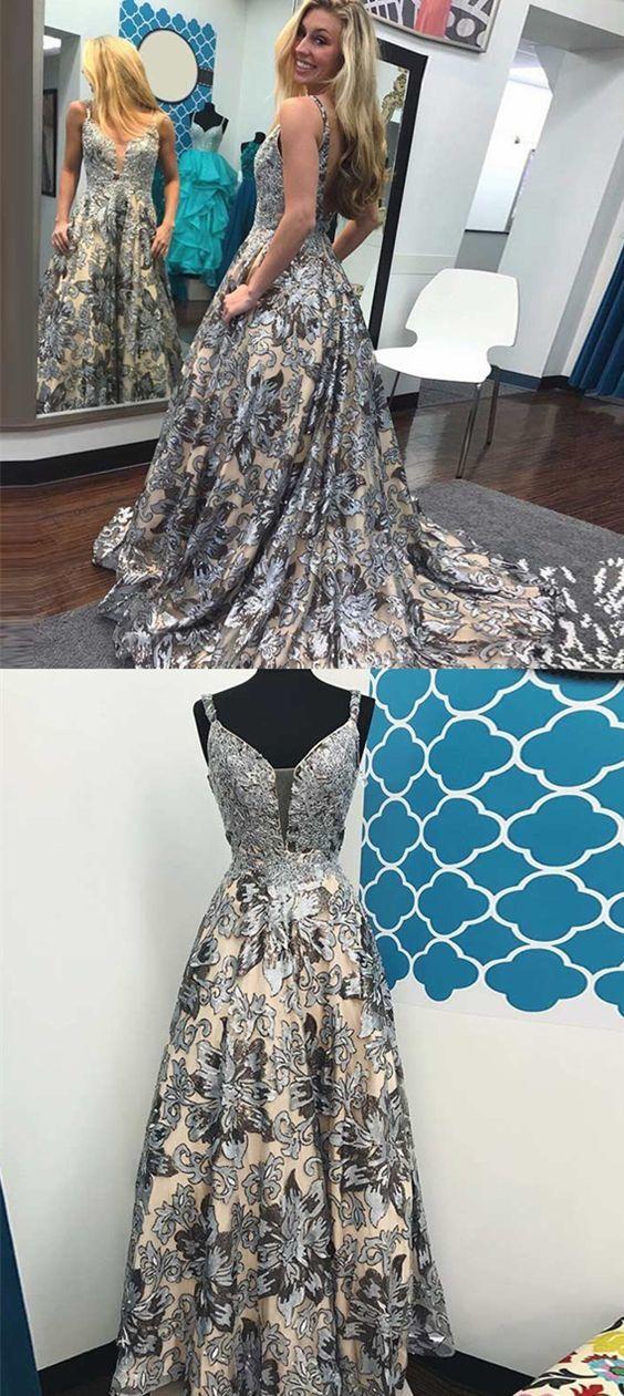 modest lace top long prom dresses, unique floral party dresses, glamorous v neck