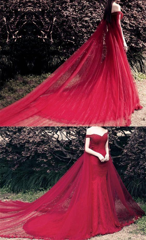 off shoulder prom dress,mermaid prom dress,mermaid evening dress,removable train