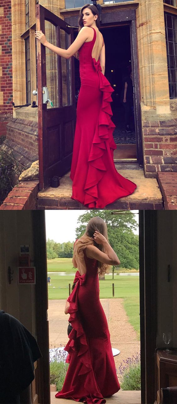 burgundy prom dress,mermaid prom dress,mermaid by Hiprom on Zibbet