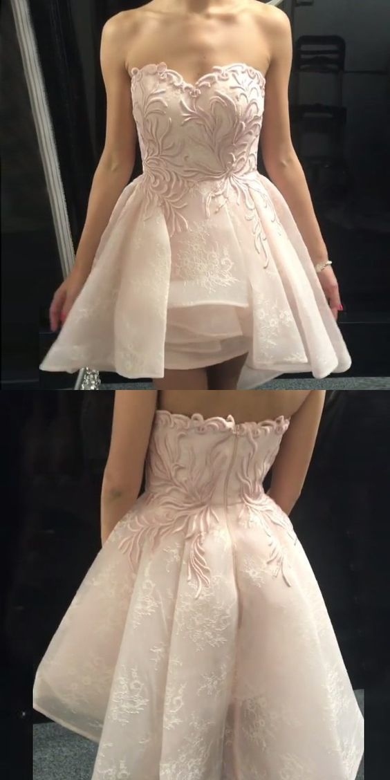 1ca9af0dc460 a line sweetheart short homecoming dresses, pearl pink appliques short prom