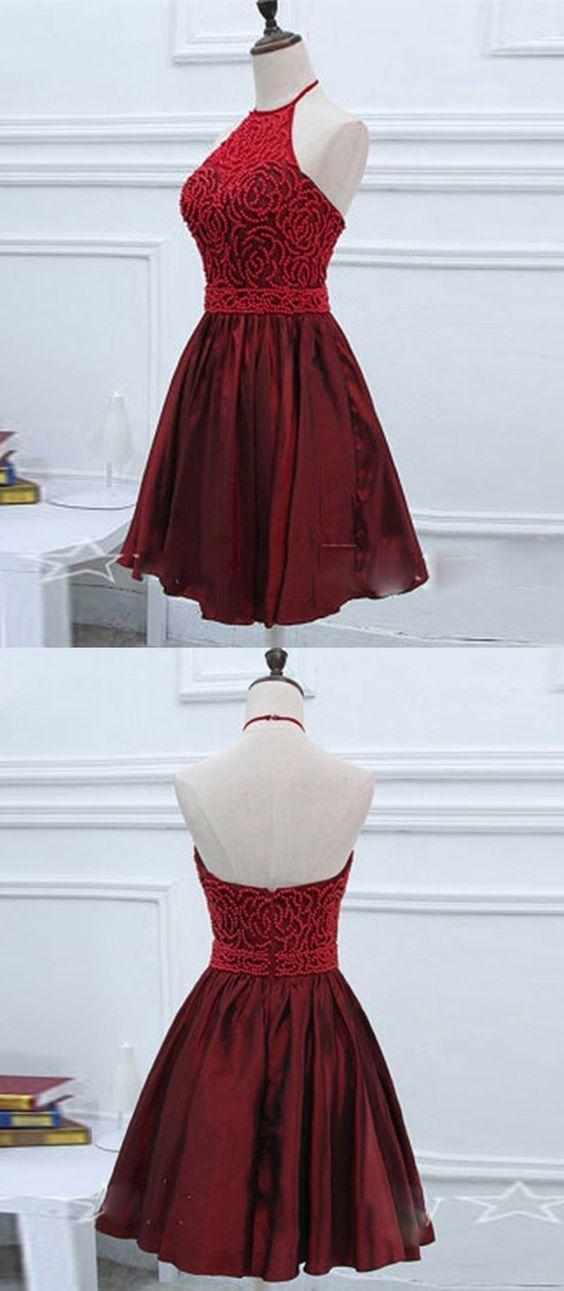 A-Line Halter Short Dark Red Taffeta Homecoming Dress with Beading