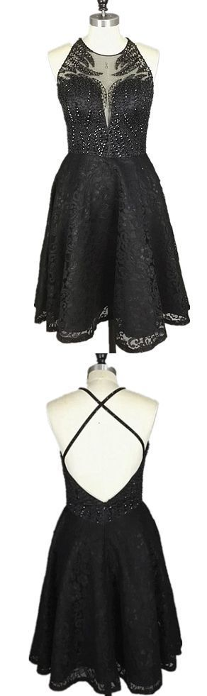 A-Line Round Neck Short Black Lace Backless Homecoming Dress with Beading  Visit