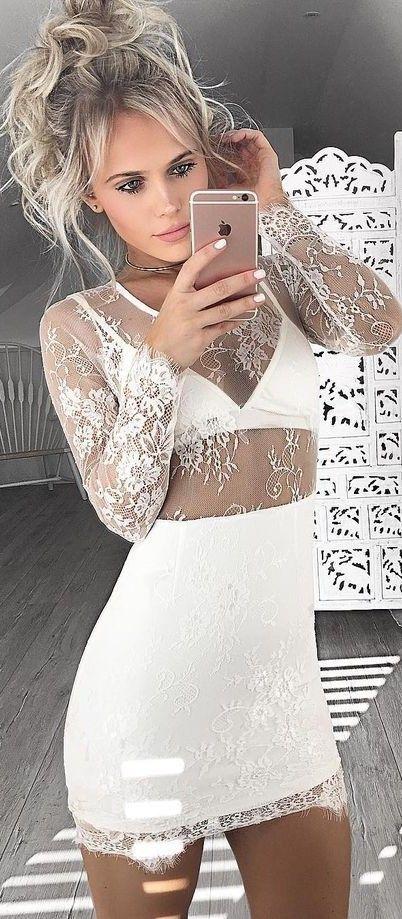 Long Sleeves Dresses,White Dresses,Mini Dresses,Lace Dresses,Homecoming Dresses