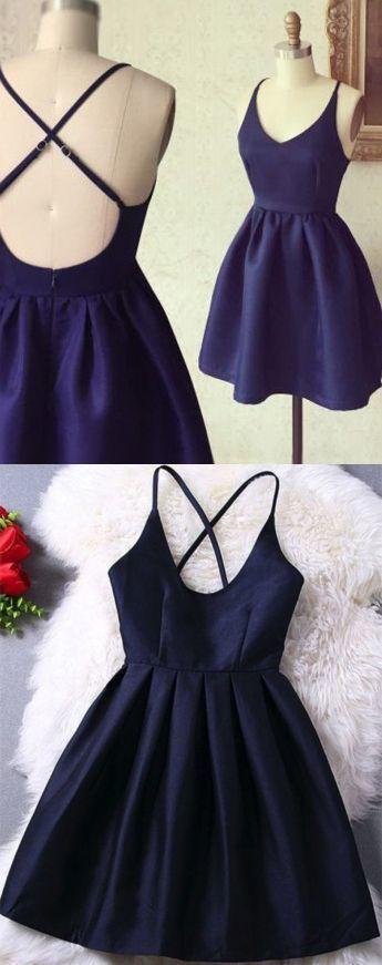 A-Line Spaghetti Straps Dark Blue Criss-Cross Straps Satin Homecoming Dress