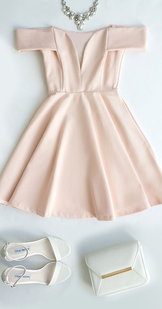 A-Line Off-the-Shoulder Short Pearl Pink Satin Homecoming Cocktail Dress